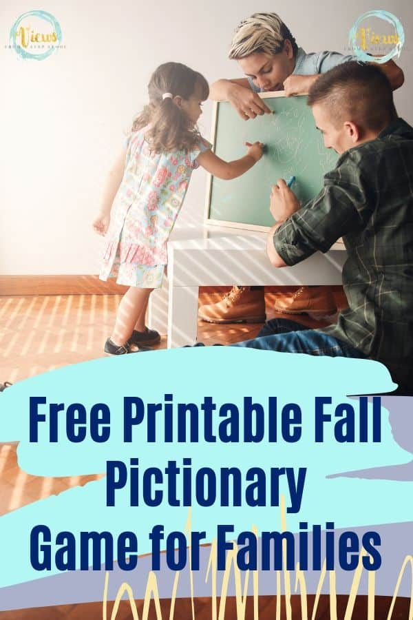 family drawing on chalkboard with fall pictionary printable board game