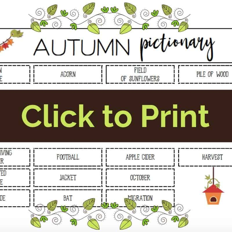 click to print fall pictionary printable board game