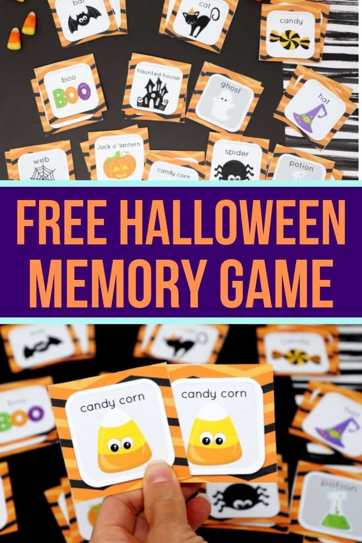Printable Halloween Memory Game for Toddlers and Preschoolers