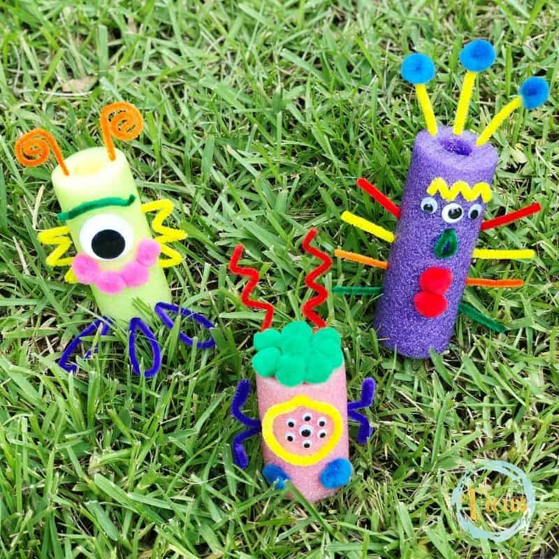 pool noodle monsters on grass