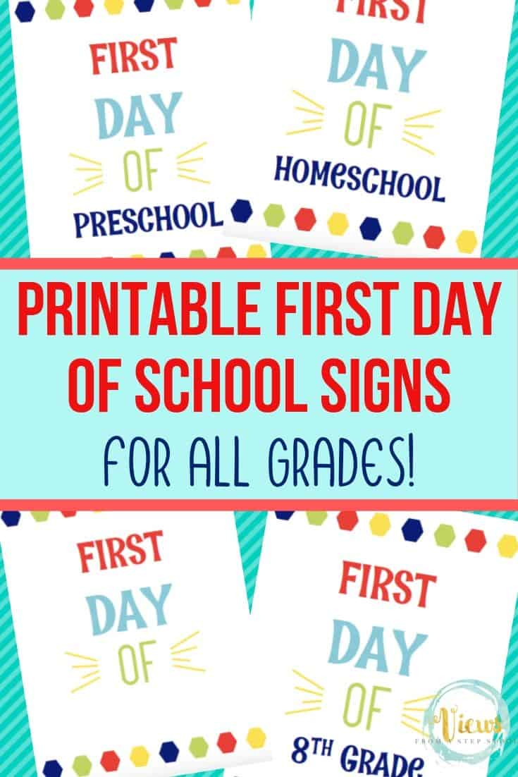 Printable First Day of School Signs PK-12