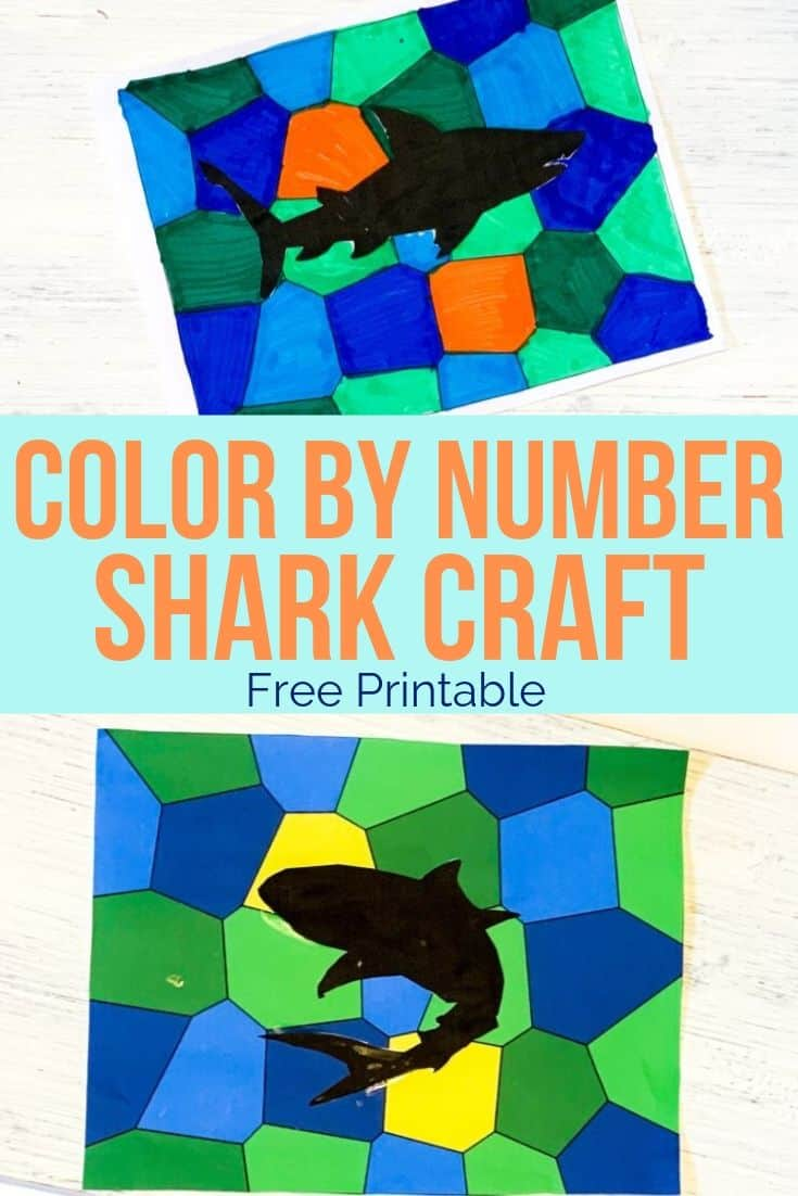 Printable Shark Craft that Looks Like Stained Glass