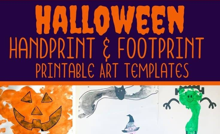 Halloween Handprint Art & Footprint Art Printable Templates