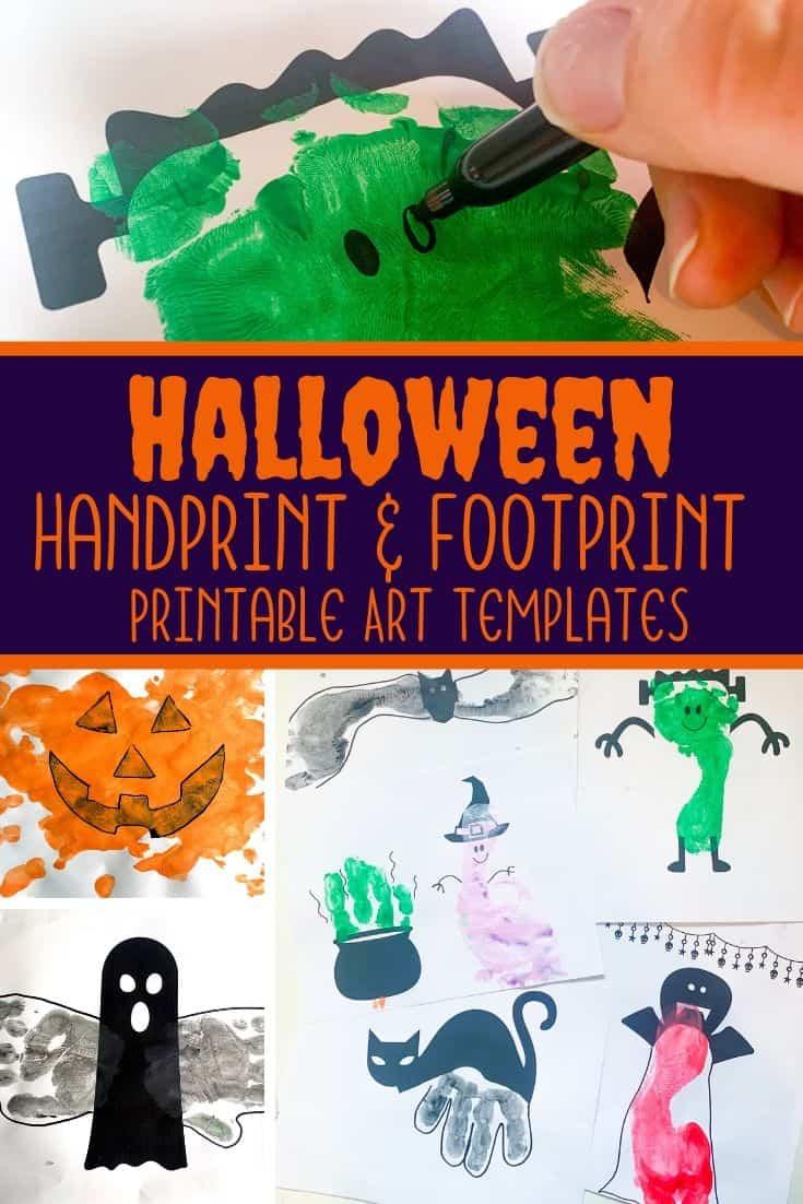 Halloween Handprint Art & Footprint Art Printable Templates