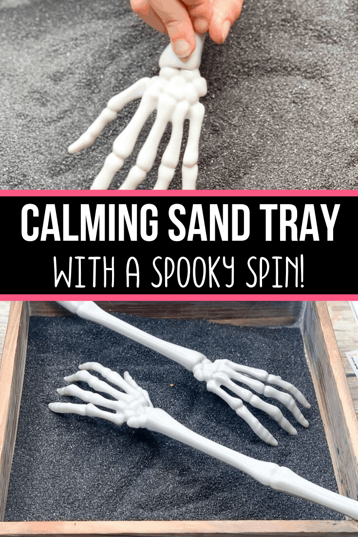 Skeleton Sand Tray for Halloween Sensory Play