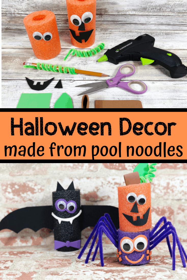 Halloween Pool Noodle Craft: Spider, Bat & Jack o' Lantern
