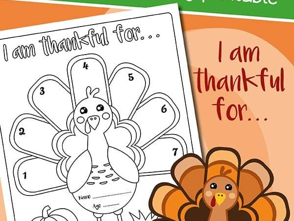 I am Thankful Printable Activity and Coloring Sheet