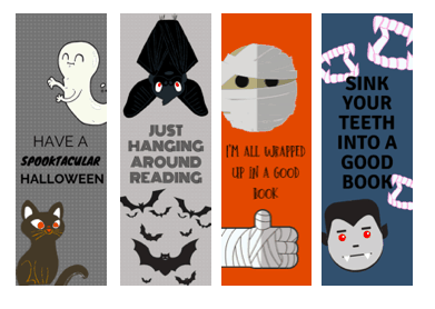 halloween printable bookmarks for kids, black cat bookmark, bat bookmark, mummy bookmark, vampire bookmark