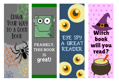 halloween printable bookmarks spider bookmark, frankenstein bookmark, eyeball bookmark, witch bookmark