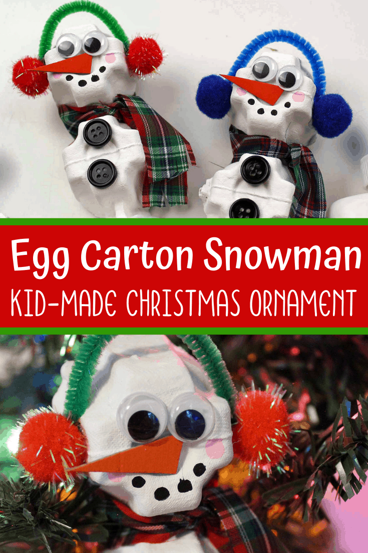 DIY Snowman Ornament Made from Recycled Egg Cartons
