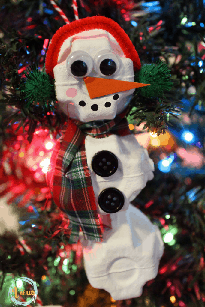 Diy Snowman Ornament Made From Recycled Egg Cartons Views From A Step Stool