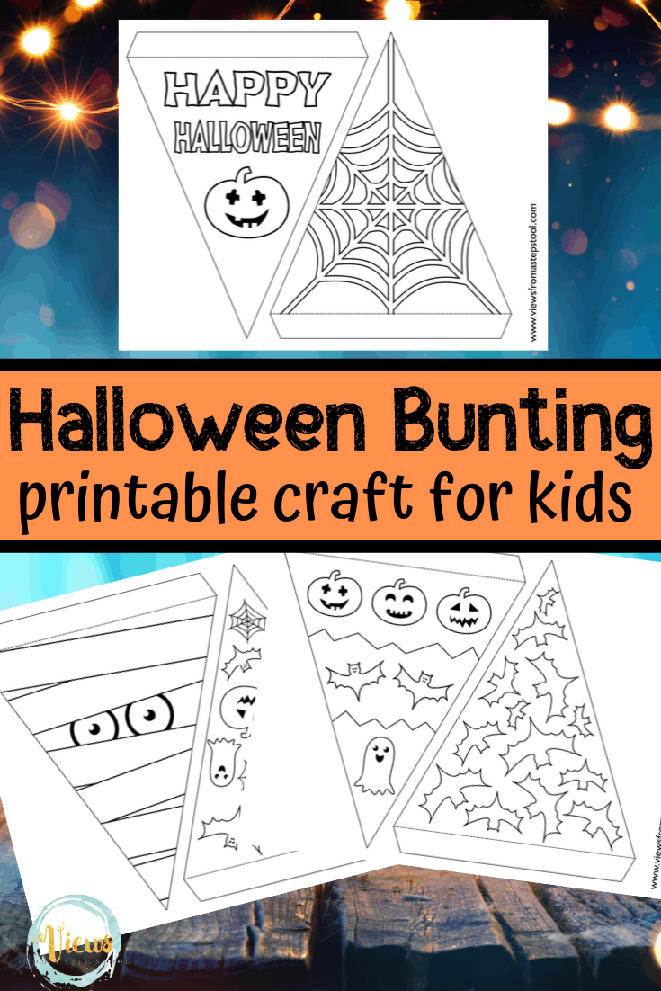 Printable Halloween Bunting Craft for Kids to Color