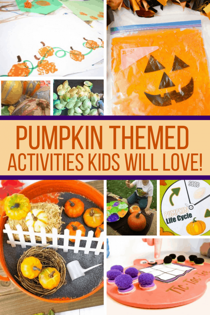 These pumpkin activities for kids include craft ideas, sensory play prompts, printable life cycle materials, and even busy bags for the 5 Little Pumpkins. #pumpkinactivities #pumpkintheme #kidsactivities #preschool #toddlers #kindergarten #parenting #teachers #fallthemeforkids