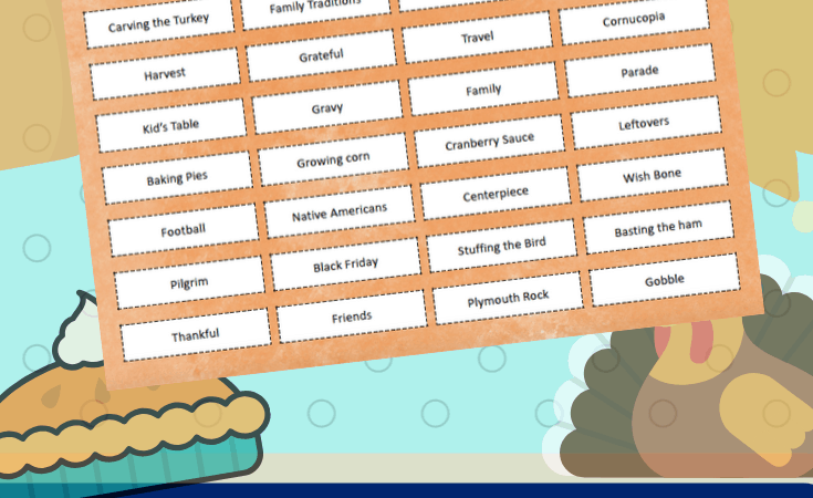 Thanksgiving Charades Printable Game for Families