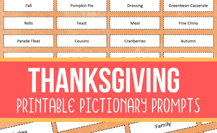Thanksgiving Pictionary Printable Game for Families