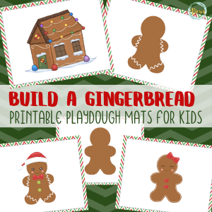 Printable Gingerbread Playdough Mat for Christmas Sensory Play