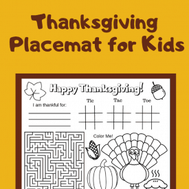 Printable Thanksgiving Placemat for Preschoolers and Toddlers