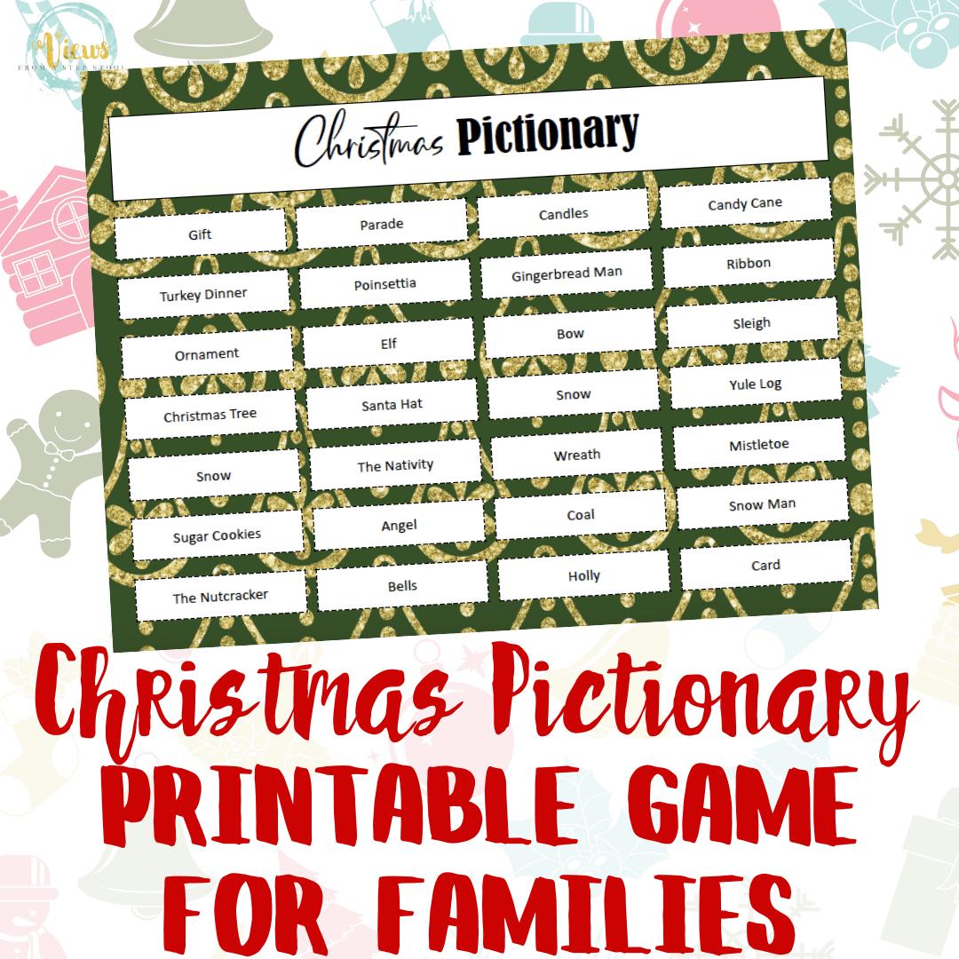 Christmas Printable Pictionary Game for Families