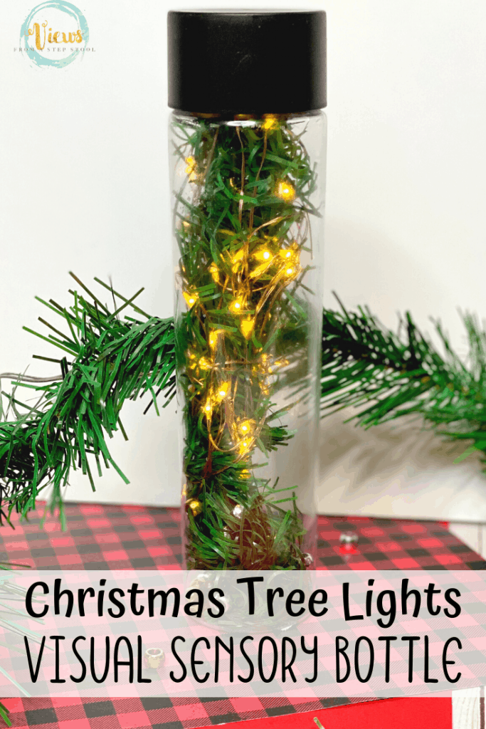 christmas tree sensory bottle with lights