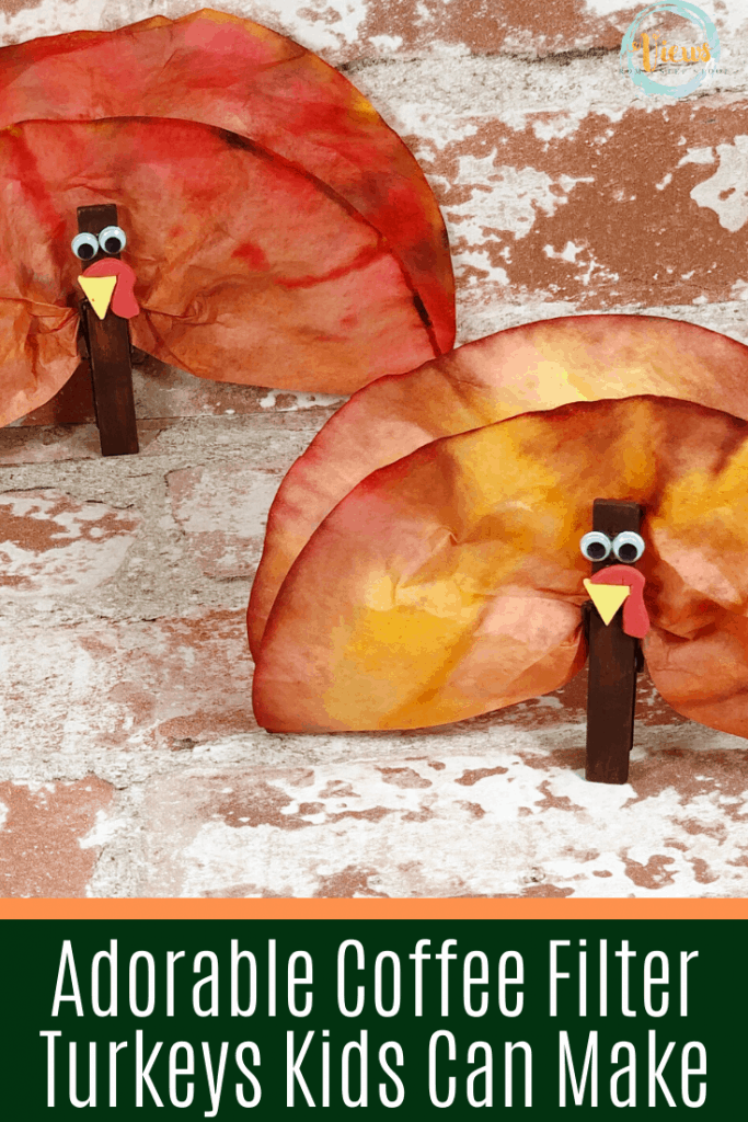 kids made coffee filter turkey craft for thanksgiving