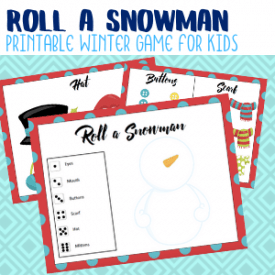 Roll a Snowman printable game