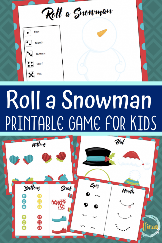 roll a snowman printable game picture for kids