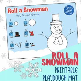 Roll a Snowman Playdough Mat for Kids