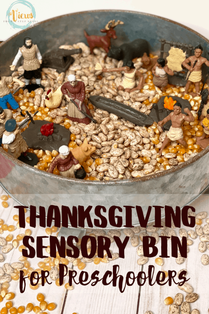 thanksgiving sensory bin with beans and corn