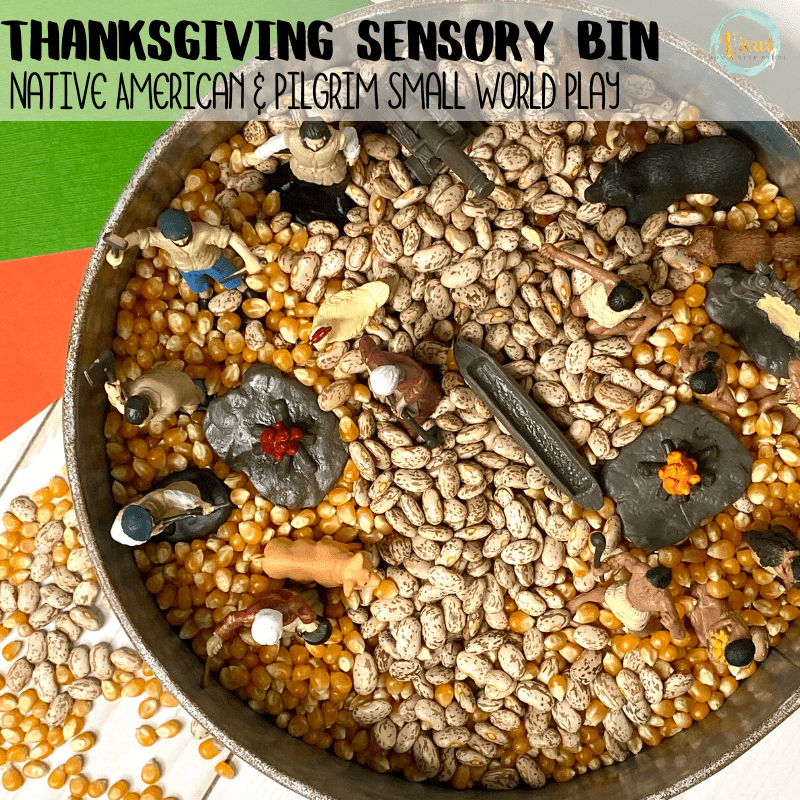 native american and pilgrim small world thanksgiving sensory bin