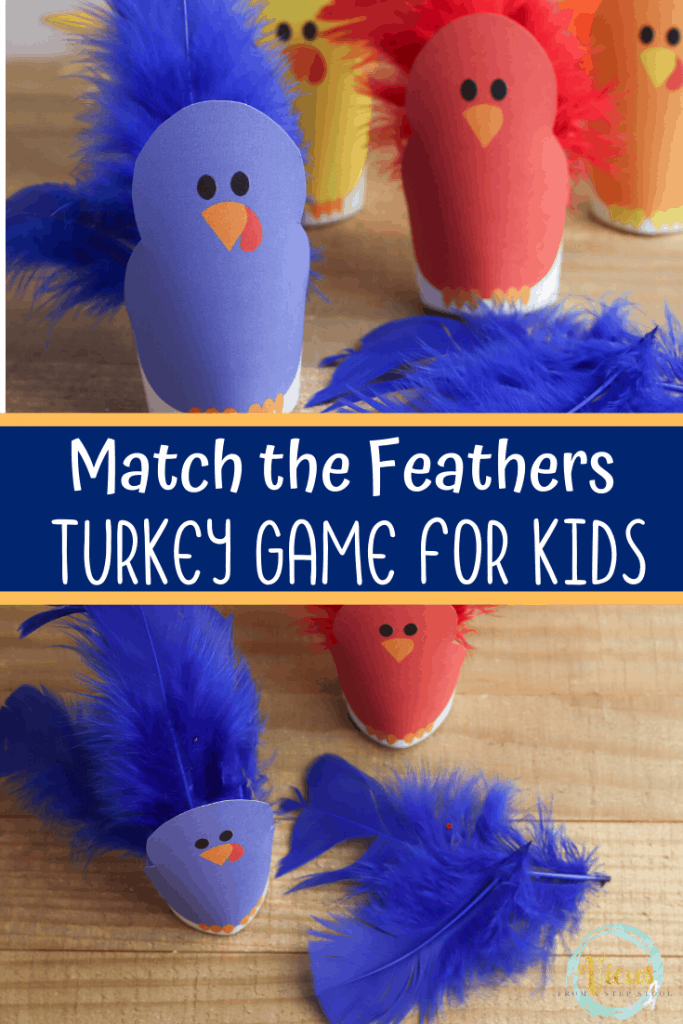 match the feather turkey game for kids with turkey printable
