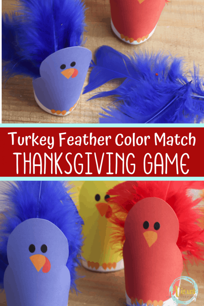 printable turkey body and turkey feather game