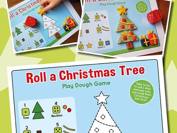 Roll a Christmas Tree Playdough Mat for Kids