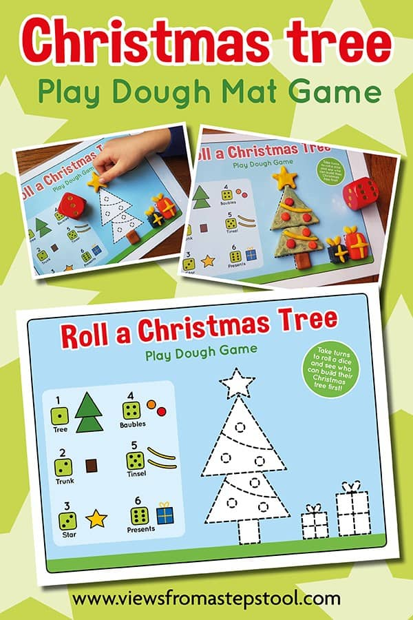 This roll a Christmas tree playdough mat is great for kids. Use it as an independent playdough mat, for a collaborative game, or as a competitive game for kids.