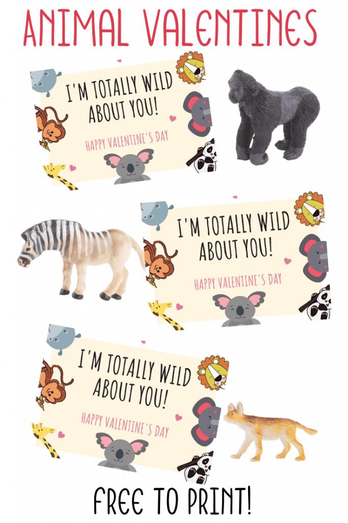 printable animal valentines day cards