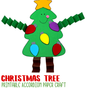 Christmas Tree Accordion Craft with Printable Template