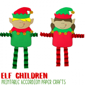 Elf Accordion Craft with Printable Template