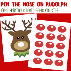 Pin the Nose on Rudolph Printable Christmas Party Game