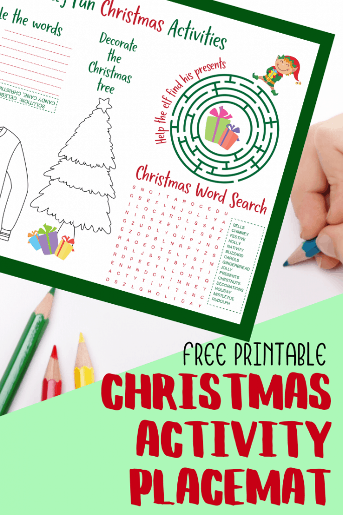 activity placemats for kids including christmas word search and maze