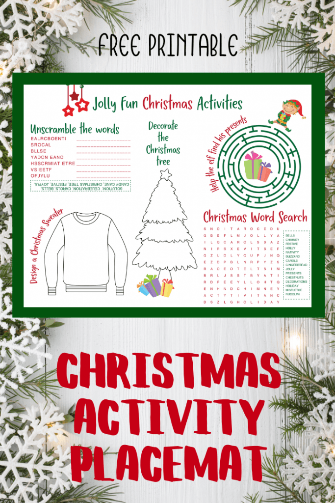 free printable christmas activity placemat