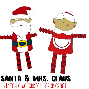 Mrs. Claus & Santa Accordion Craft with Printable Template