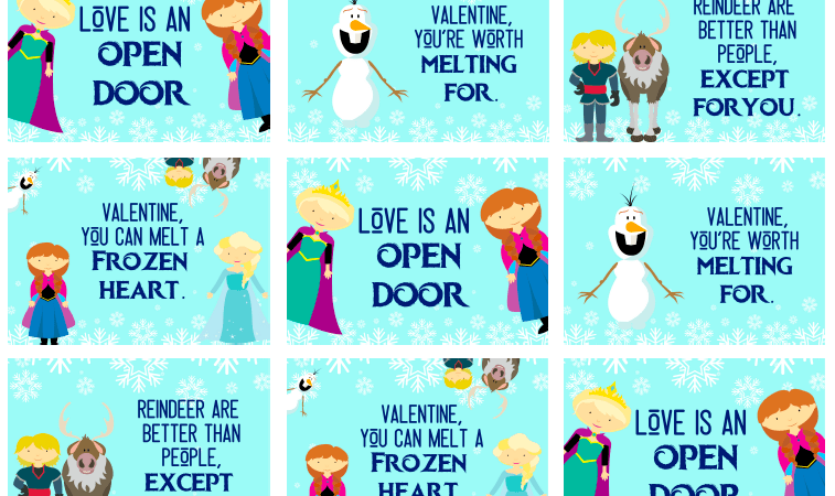 Printable Frozen Valentine's Day Cards