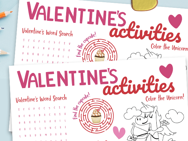 Printable Valentine's Day Activity Placemat