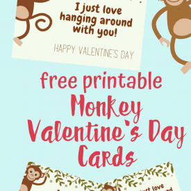 Printable Monkey Valentines Day Cards for Kids