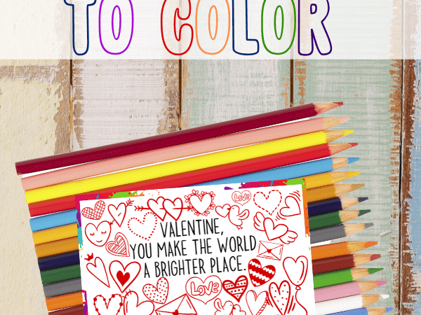 Printable Valentine's Day Card to Color