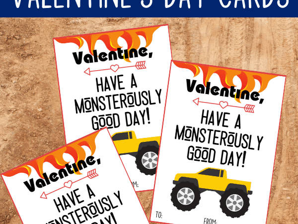 Printable Truck Valentine Cards for Kids