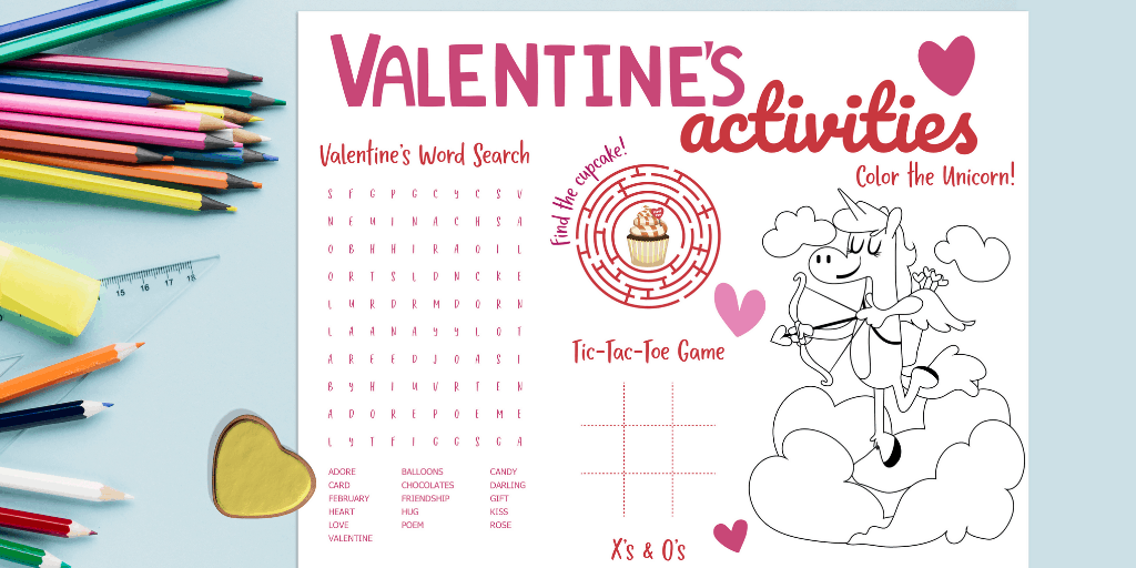 Printable Valentine S Day Activity Placemat Views From A Step Stool