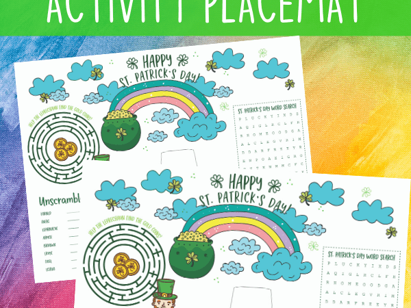 St. Patrick's Day Placemat Printable: Maze, Word Search and More