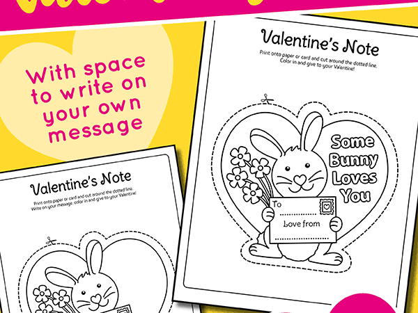 Printable Cut and Color Valentine Notes for Teachers or Parents