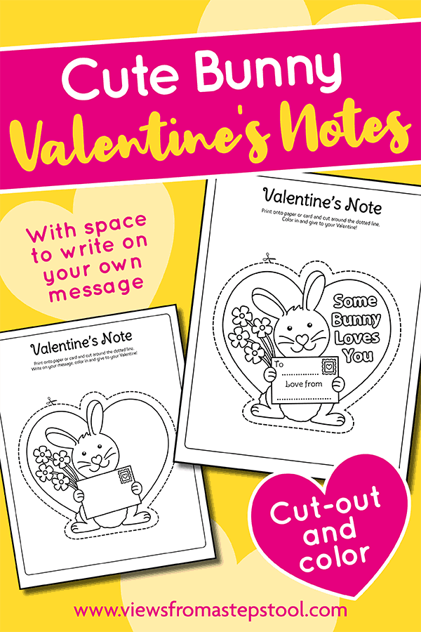 cute bunny valentines notes