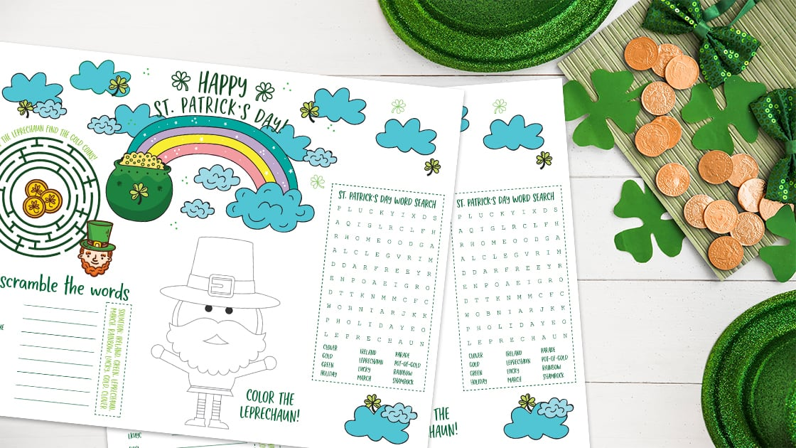 A free printable St Patricks Day placemat for kids. Great for meal time or school includinga word search, a maze, color the leprechaun, and word scramble. Print off as many copies as you need! #stpatricksdaykidsactivities #kidsactivities #printableplacemat #printableactiviites #holidayswithkids #kidsprintables